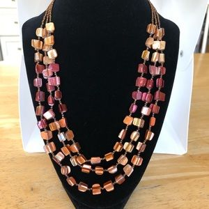 Multicolored 3-strand shell + bead necklace